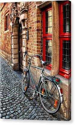 Hdr Landscape Canvas Print - Bicycle In Bruges by Carol Japp