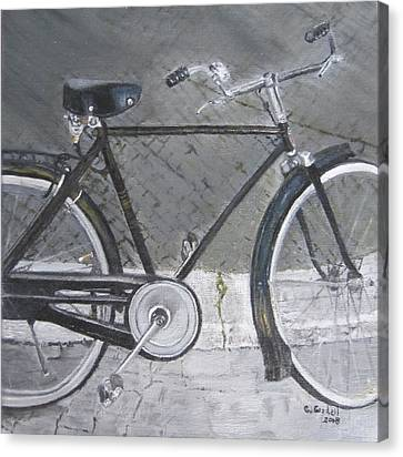 Bicycle In Rome Canvas Print by Claudia Goodell