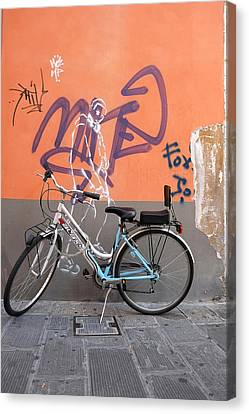 Canvas Print featuring the photograph Bicycle Laspezzia Italy by John Jacquemain