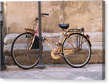Bicycle Lecce Italy Canvas Print by John Jacquemain