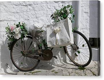 Bicycle Parked Against A Wall, Trulli Canvas Print by Panoramic Images