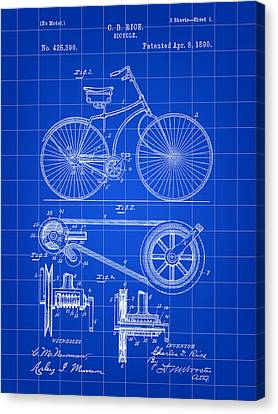 Bicycle Patent 1890 - Blue Canvas Print by Stephen Younts