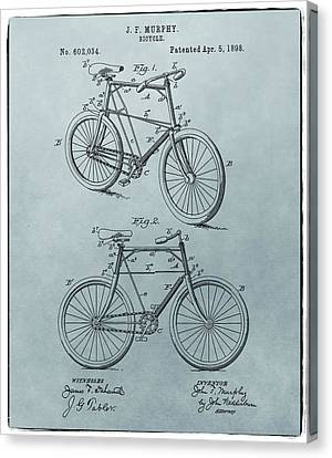 Bicycle Patent Blue Canvas Print