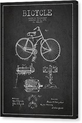 Bicycle Patent Drawing From 1891 Canvas Print by Aged Pixel