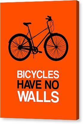 Bicycles Have No Walls Poster 1 Canvas Print by Naxart Studio