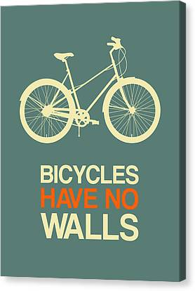 Inspirational Canvas Print - Bicycles Have No Walls Poster 3 by Naxart Studio