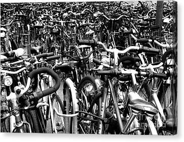 Canvas Print featuring the photograph Sea Of Bicycles- Karlsruhe Germany by Joey Agbayani