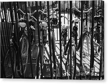 Canvas Print featuring the photograph Bicycles by Maja Sokolowska