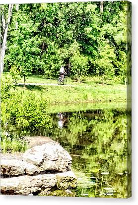 Bicycling By The Lake Canvas Print