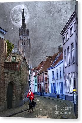 Bicycling Through Bruges Canvas Print by Juli Scalzi