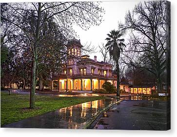 Bidwell Mansion In The Rain  Canvas Print by Abram House