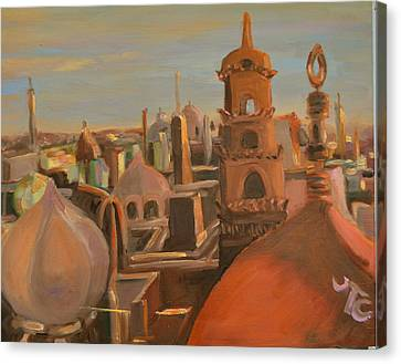 Canvas Print featuring the painting Bienvenue Au Caire by Julie Todd-Cundiff