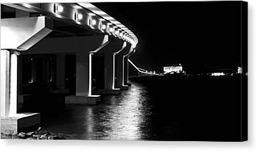 Bienville Blvd. Bridge Night Canvas Print by Marcus Mapp Sr