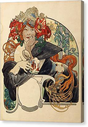Biere De La Meuse,  Polychrome Gouache On Buffed Paper Canvas Print by Alphonse Marie Mucha