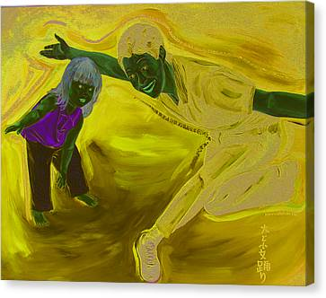 Canvas Print featuring the painting Big And Little Women Dancing by Kevin Callahan