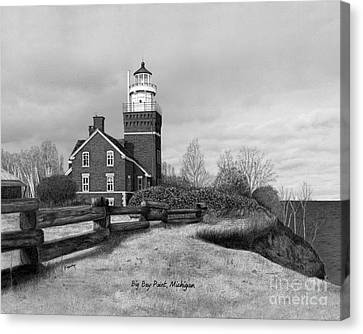 Big Bay Point Lighthouse Titled Canvas Print by Darren Kopecky