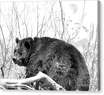 Full-length Portrait Canvas Print - Big Bear In Black And White by Janice Rae Pariza