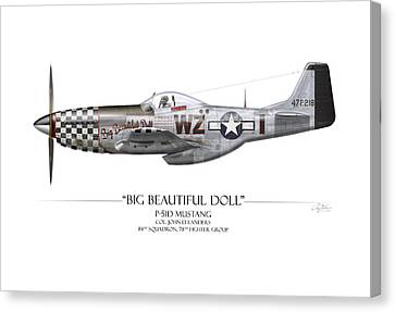 Big Beautiful Doll P-51d Mustang - White Background Canvas Print by Craig Tinder
