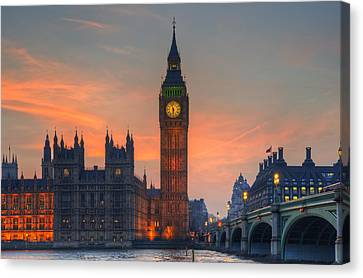 Historic Architecture Canvas Print - Big Ben Parliament And A Sunset by Matthew Gibson