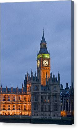 Big Ben Parliament Wesminster London Digital Painting Canvas Print by Matthew Gibson