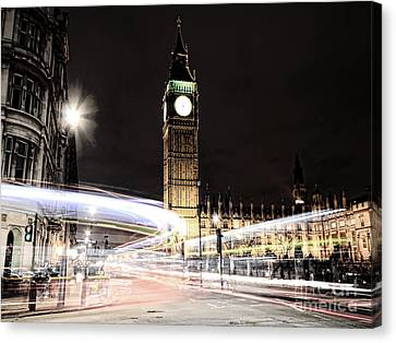 Big Ben With Light Trails Canvas Print