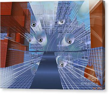 Canvas Print featuring the digital art Big Brother Is Watching by Susanne Baumann