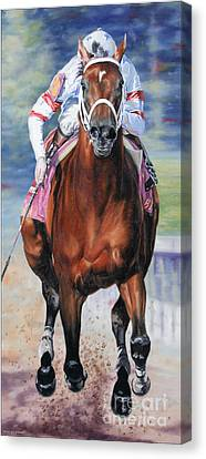 Big Brown Charging Down The Stretch Canvas Print by Thomas Allen Pauly