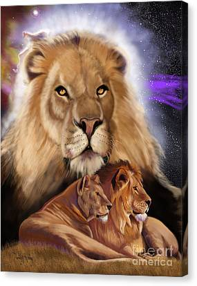 Canvas Print featuring the painting Third In The Big Cat Series - Lion by Thomas J Herring