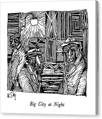 Big City At Night Canvas Print by William Steig