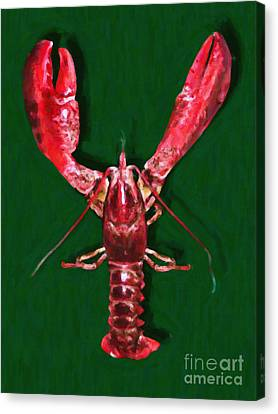 Big Claw Lobster - Painterly - V2 Canvas Print by Wingsdomain Art and Photography