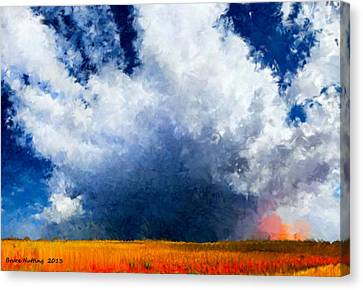 Canvas Print featuring the painting Big Cloud In A Field by Bruce Nutting