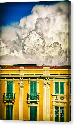 Canvas Print featuring the photograph Big Cloud Over City Building by Silvia Ganora