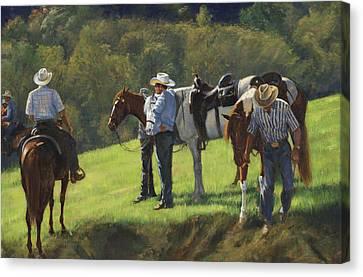 Trail Ride Canvas Print - Big Creek Trail Ride Break by Don  Langeneckert