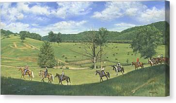 Trail Ride Canvas Print - Big Creek Trail Ride by Don  Langeneckert