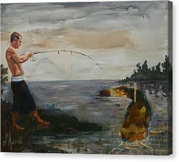Fishing Canvas Print - Big Fish by Tom Dauria