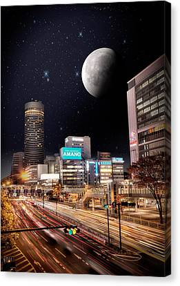 Big Moon Yokohama Canvas Print by John Swartz