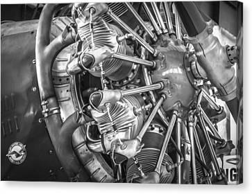 Big Motor Vintage Aircraft Bw Canvas Print