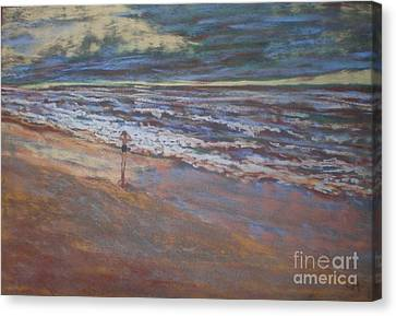 Canvas Print featuring the painting Big Ocean  Little Boy by Suzanne McKay
