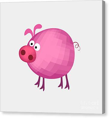 Big Pink Pig Canvas Print by T Lang