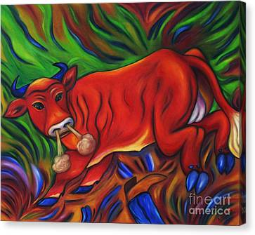 Canvas Print featuring the painting Big Red Bull Bucks by Dianne  Connolly
