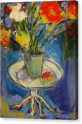 Big Red Flowers In A Pale Green Vase  Canvas Print by Tolere