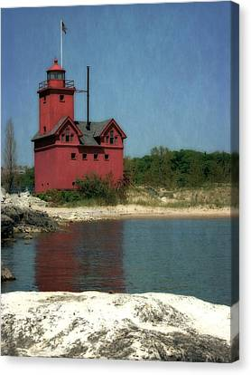 Big Red Holland Michigan Lighthouse Canvas Print by Michelle Calkins