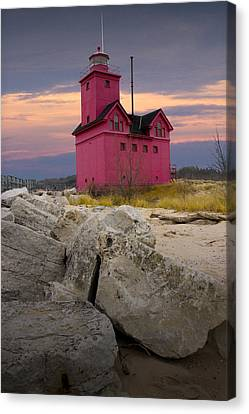 Big Red Lighthouse By Holland Michigan Canvas Print by Randall Nyhof