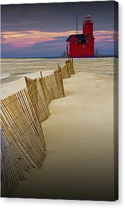 Big Red Lighthouse With Sand Fence At Ottawa Beach Canvas Print by Randall Nyhof