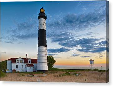 Canvas Print featuring the photograph Big Sable Point Lighthouse Sunset by Sebastian Musial