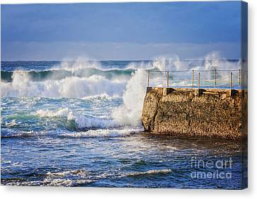 Big  Sea At Bondi Beach Australia Canvas Print by Colin and Linda McKie