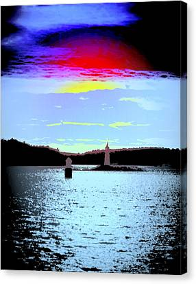 A Dark Night With A Big Sky But Small Lighthouses Canvas Print by Hilde Widerberg