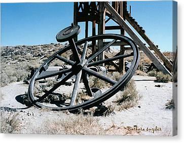 Big Wheel Bodie Canvas Print by Barbara Snyder