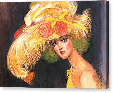 Canvas Print featuring the painting Big Yellow Fashion Hat by Sue Halstenberg