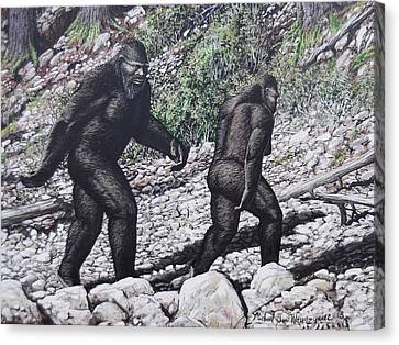 Bigfoot Couple Canvas Print by Michael Wawrzyniec